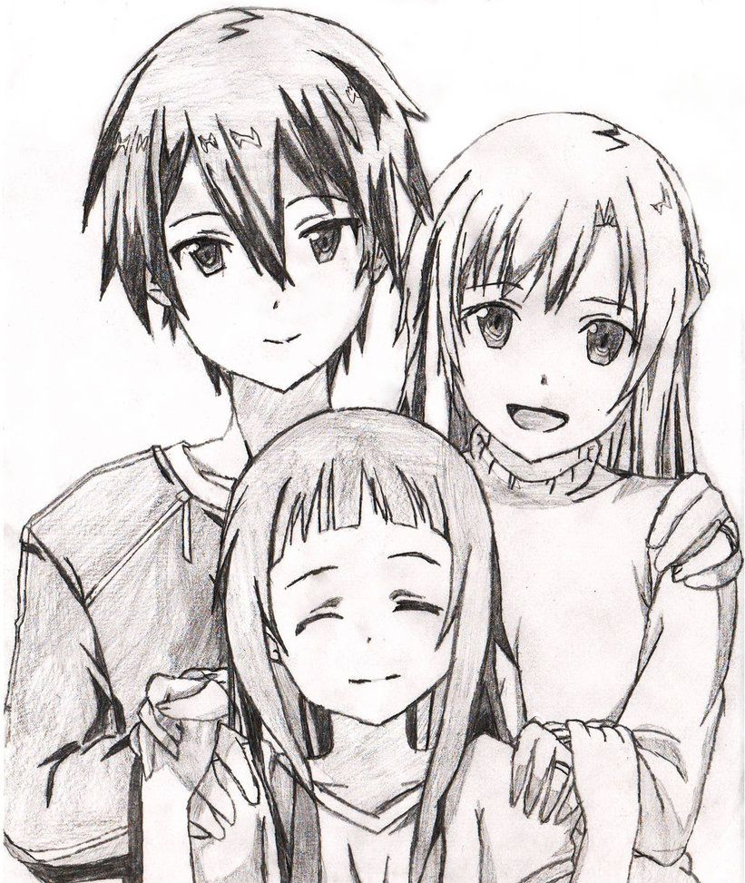 Sword Art Online Kirito And Asuna Drawing Google Search