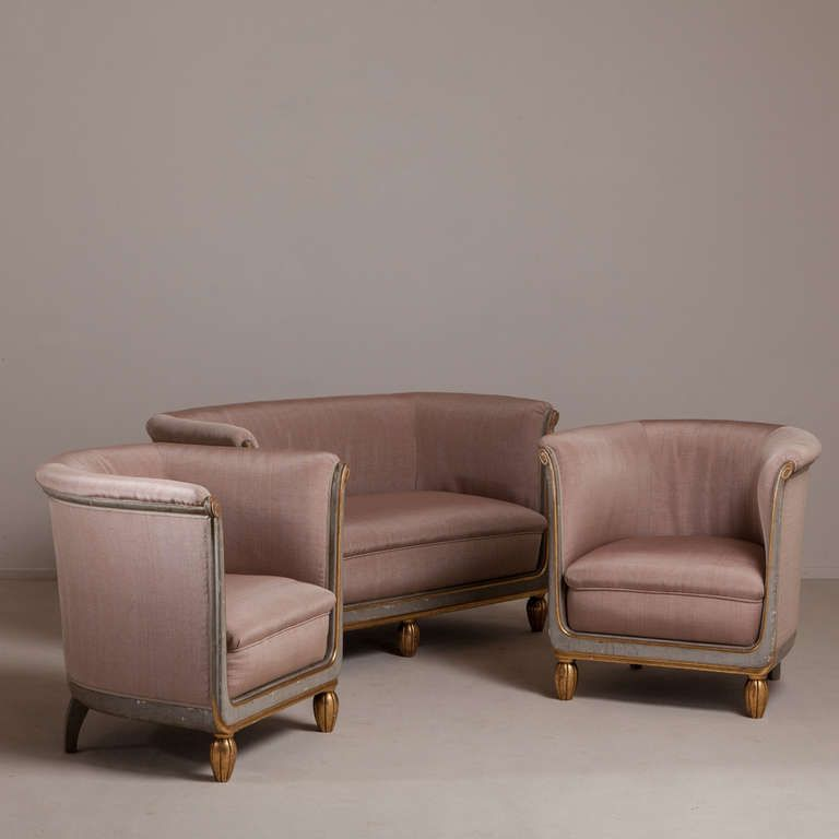 A Pair Of Small French Tub Chairs 1920s Upholstered By Talisman