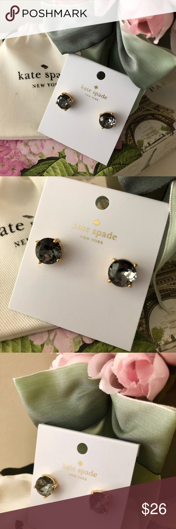 Kate Spade ♠️ Black Diamond Gumdrop Earrings NWT Kate