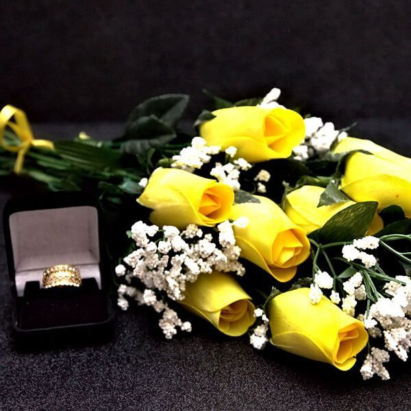 Yellow Wax Dipped Dozen Roses Women's Gift Shop