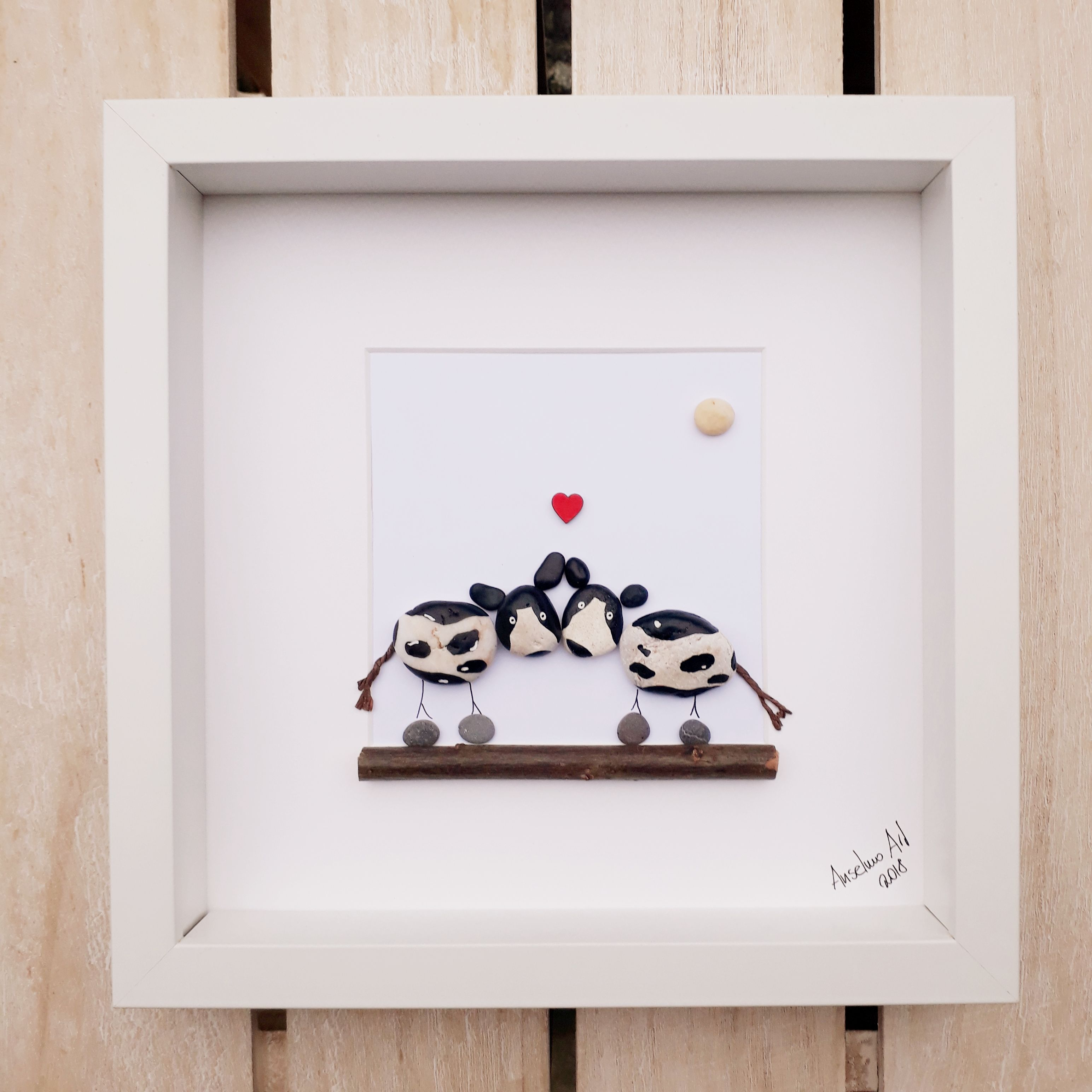 Cows pebble picture framed pebble art valentines day