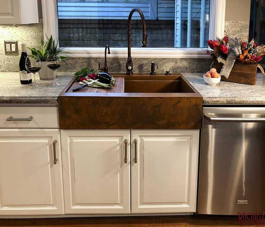 Retrofit Copper Drop In Farmhouse Workstation Kitchen Sink
