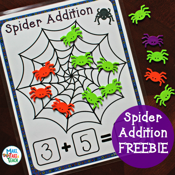 Spider Web Addition FREEBIE Halloween math, Kindergarten