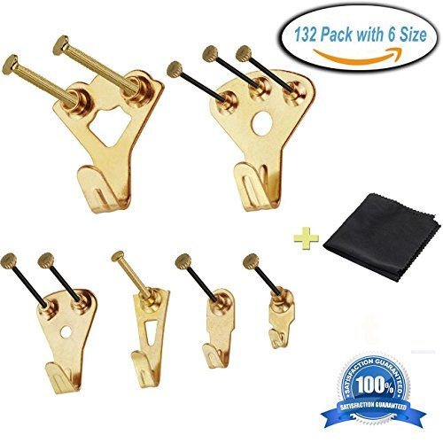 Picture Hangers132 Pcs Professional Golden Picture Photo Frame Hooks Hanging Kit For Wall Mountin Photo Frame Wall Picture Frame Hangers Hanging Picture Frames