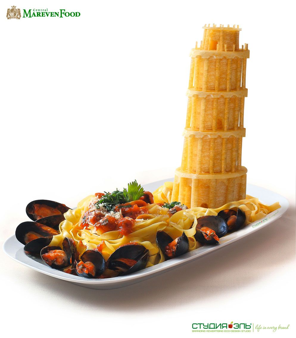 The tower of pisa out of egg noodles cooking is an art for Bar food 62 pisa