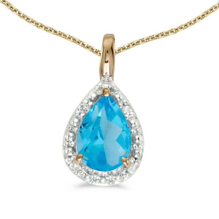 "14k Yellow Gold Pear Blue Topaz Pendant with 18"" Chain: This 14k yellow gold pear blue topaz pendant features… #DiamondJewelry #DiamondRings"