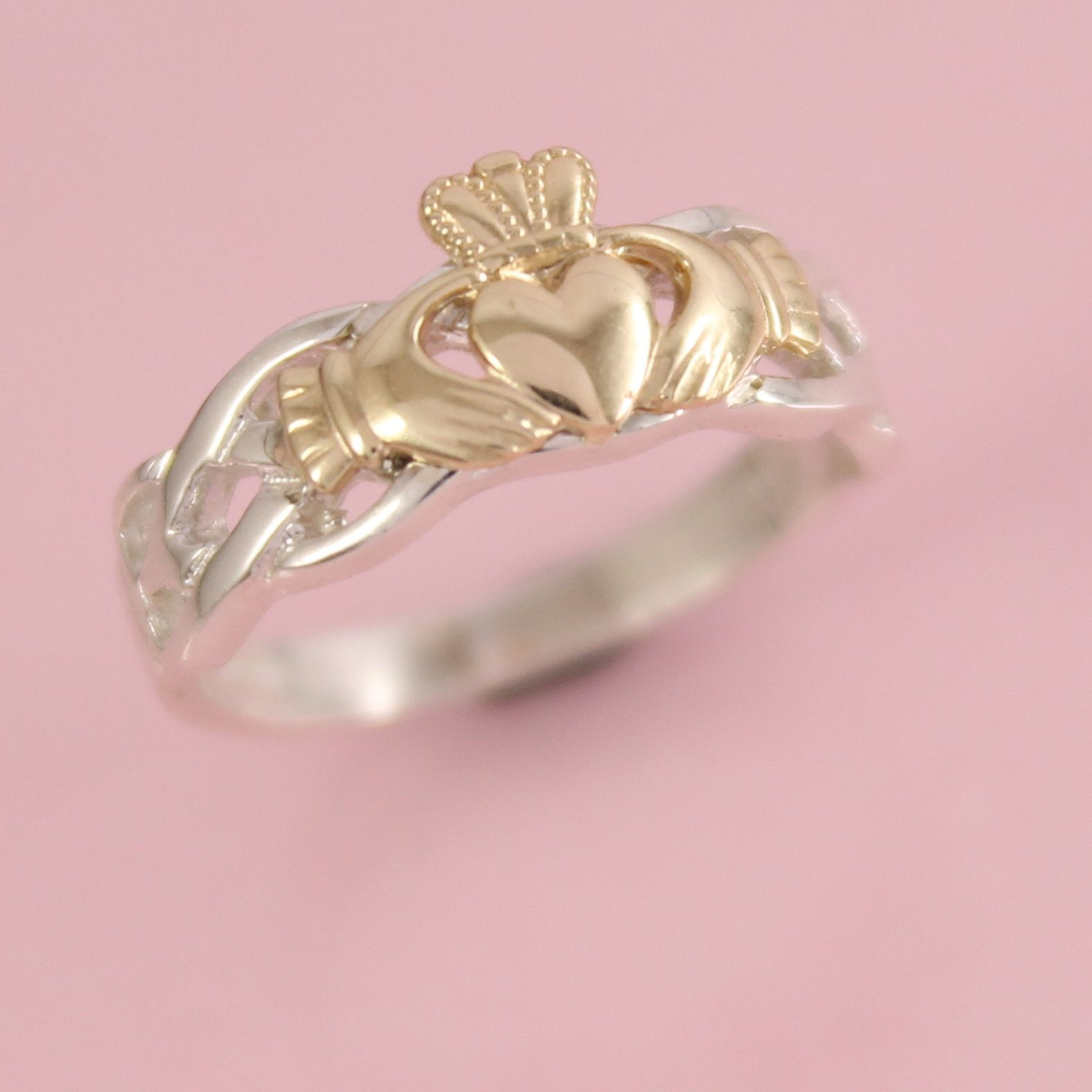 10K yellow Gold Claddagh on a silver celtic rope band | Pinterest ...