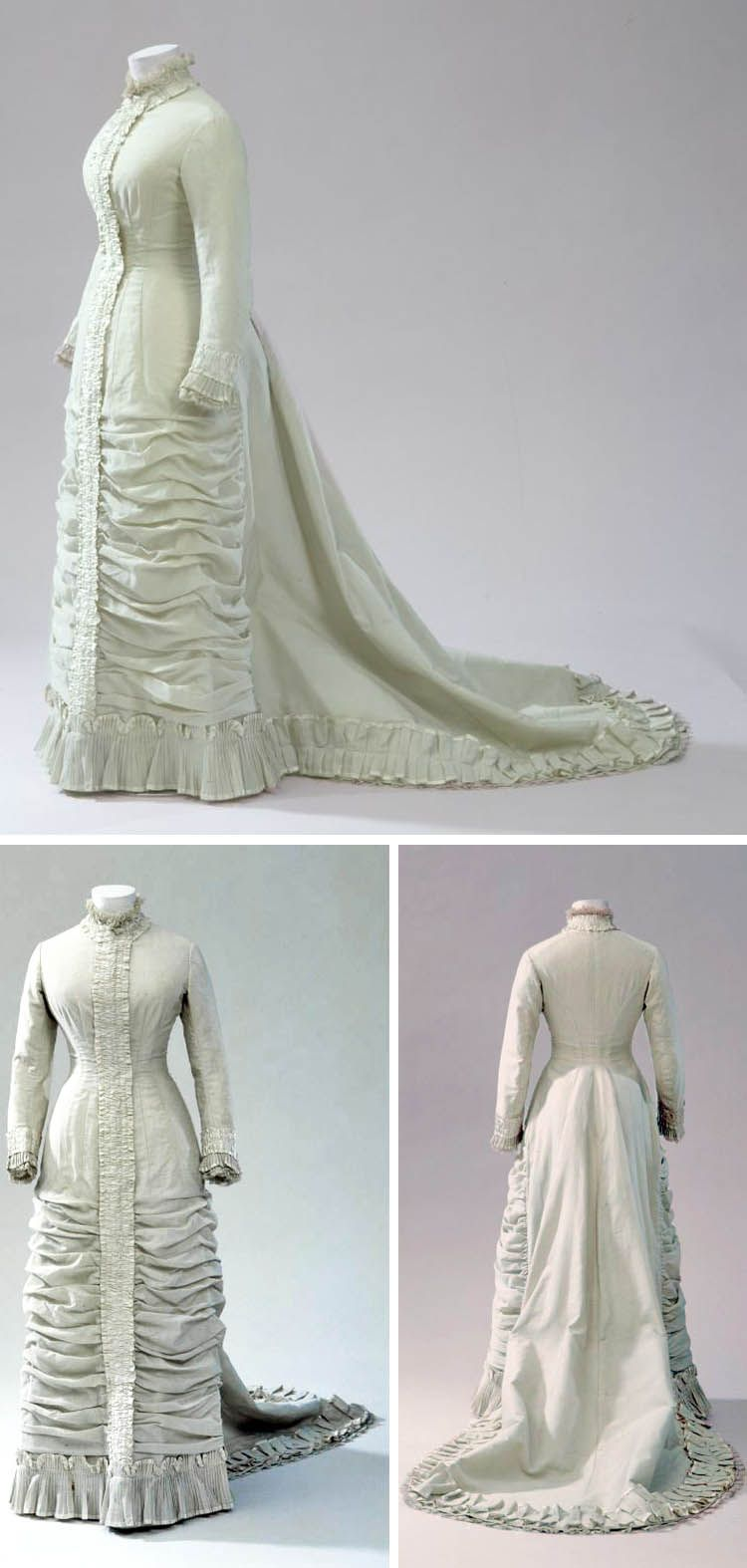 Wedding Dress 1881 Light Green Wool Twill With White Silk And Cotton Trim And White Machine Lace Lined Victorian Fashion Historical Dresses Vintage Outfits