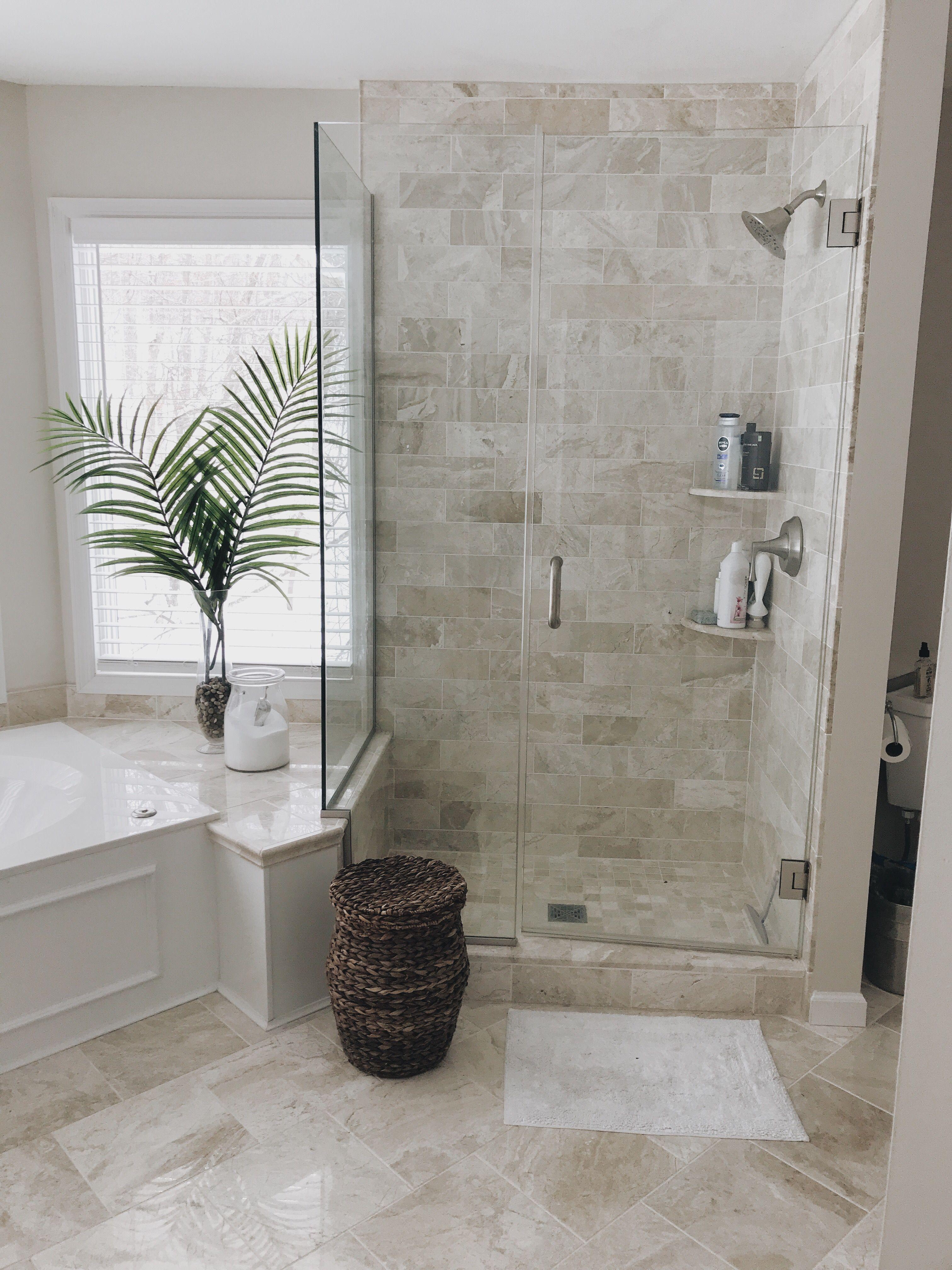 Frameless Shower Master Bathroom Beige Tile Bathroom Beige