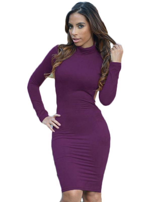Purple Faux Suede Turtleneck Long Sleeve Midi Dress | Midi Dresses ...