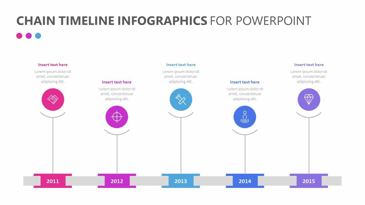 Chain Timeline Infographics For Powerpoint Help Those In Attendance Of Your Business Meeting Understand The Timeline Of Powerpoint Infographic Powerpoint Help