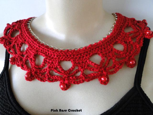 Pink Rose Crochet: Colar com Corrente - Crochê | Bijuterias em ...