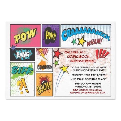 Vintages Comic Buch Streifen Superheld Party Laden 12,7 X 17,8 Cm  Einladungskarte