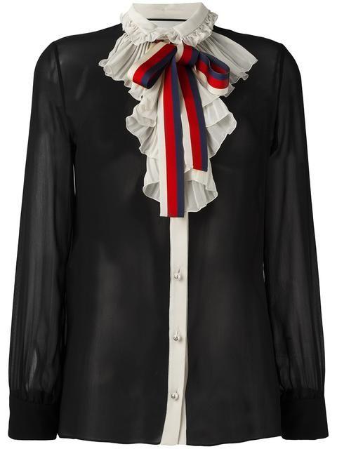 f9dbcf17de1a84 GUCCI Web Bow Georgette Shirt. #gucci #cloth #shirt | Gucci | Gucci ...