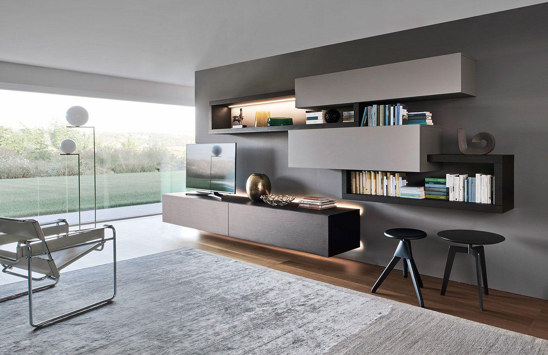 Die Moderne Wohnwand Von Livitalia überzeugt Durch Eine Schwebende Optik  Und Mit Ihrer Hintergrundbeleuchtung. Eine