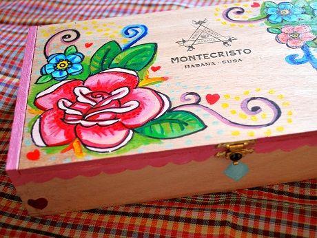 Painted Wooden Box Cigar Box Art Cigar Box Crafts Painted Wooden Boxes