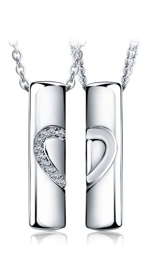 609929b7e Matching Couple Necklaces, Love Heart Jewelry Gifts, His and Hers Pendants,  Sterling Silver + CZ Diamond @ iDream-Jewelry.Com