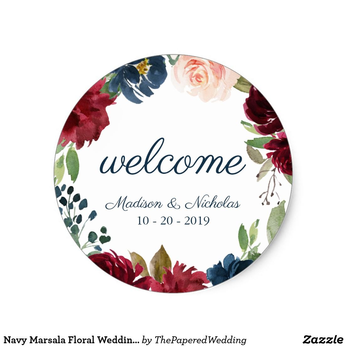 Navy marsala floral wedding welcome stickers zazzle zazlemade wedding stickers stickersheets custom template couples typography crafts stationery