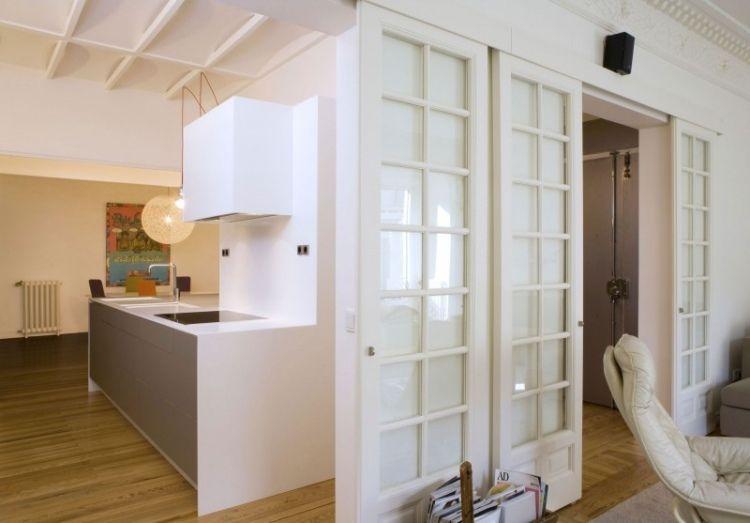 Schiebetür glas küche  traditionelle Schiebetür mit Sprossen aus Holz und Glas | Anbau ...