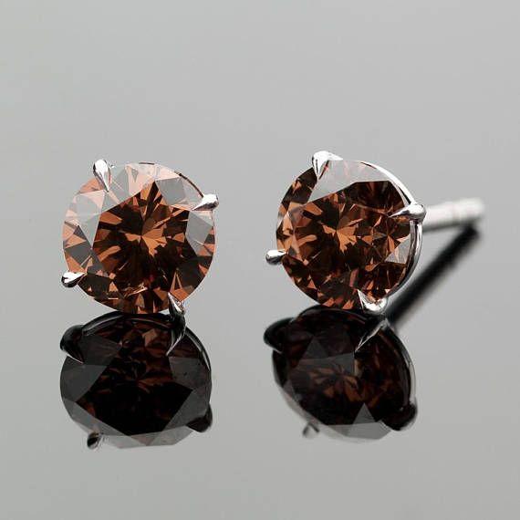 14k White 72 Carat Gold Chocolate Diamond Stud Earrings