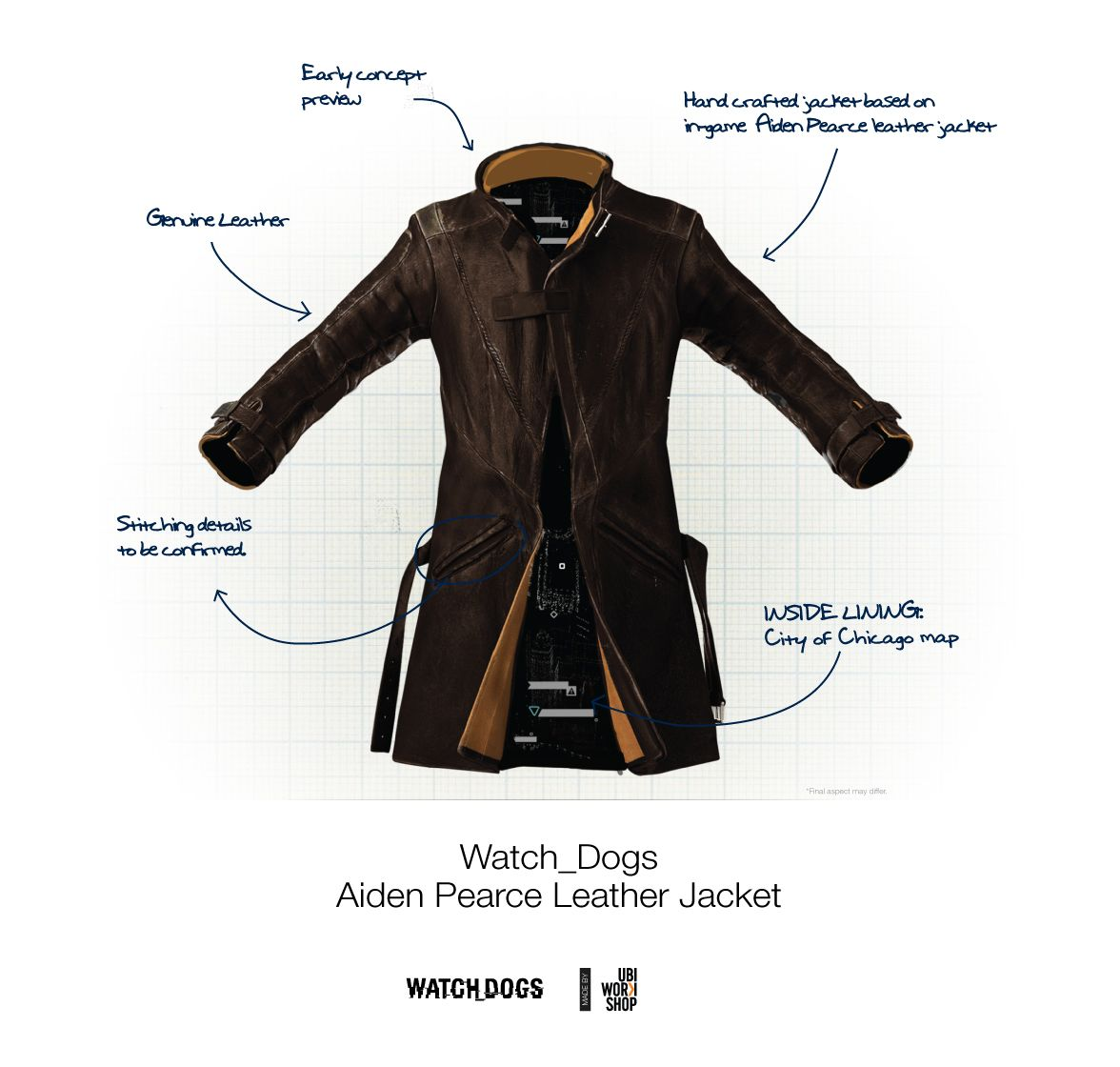 Leather jacket for dogs - Ubiworkshop Watch Dogs Aiden Pearce Leather Jacket
