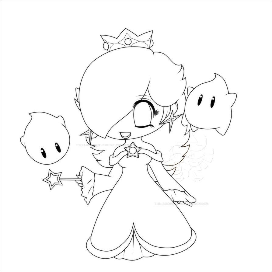 Rosalina Mario Coloring Pages. super Mario galaxy coloring page  Anime Coloring Pages Chibi Rosalina Lines by Lady Zelda of