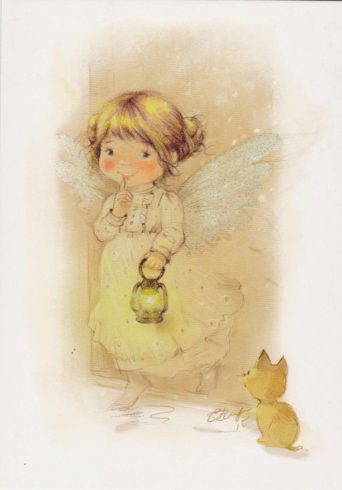 Very Rare Angel Girl With Cat By Babok Russian Modern Postcard Ebay Arte Com Fadas Imagens De Anjos Producao De Arte