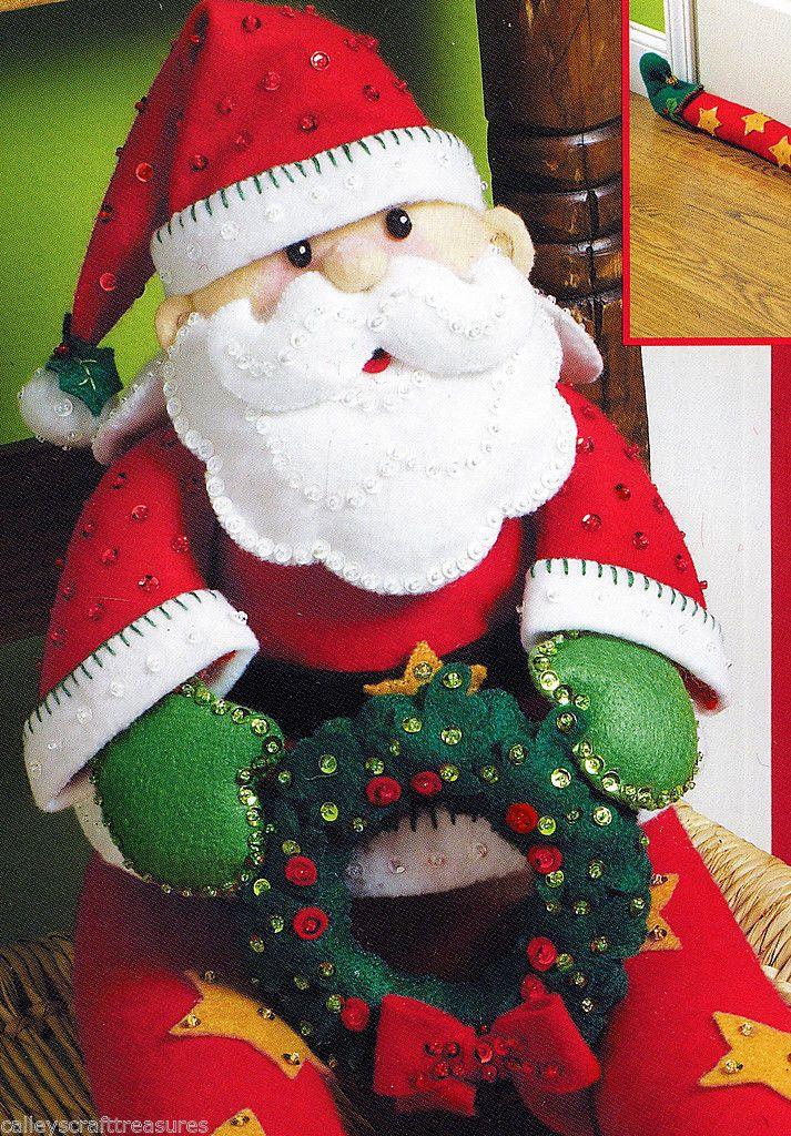 Bucilla Santa Door Draft ~ Felt Christmas Home Decor Kit #86114 - christmas home decor