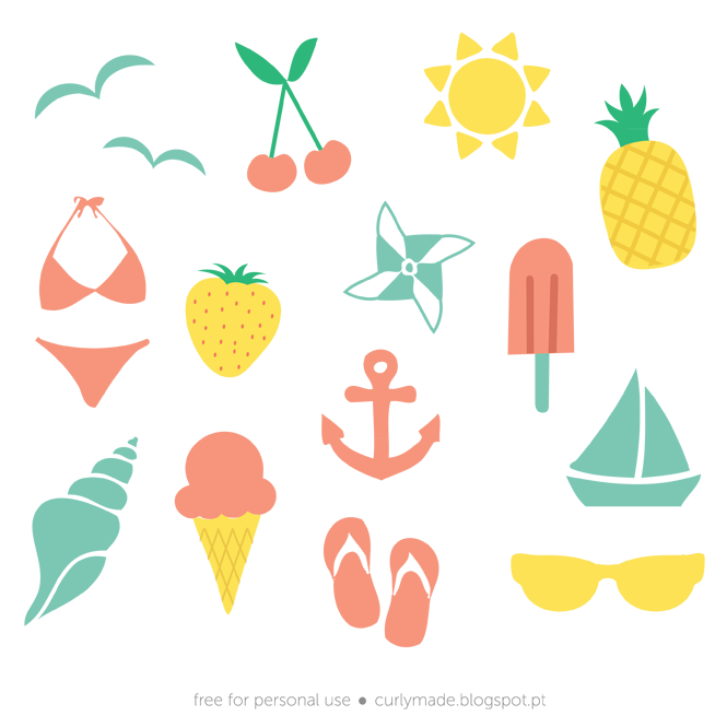 Free Summer Vectors Curly Made Free Paper Printables Free Summer Planner Stickers
