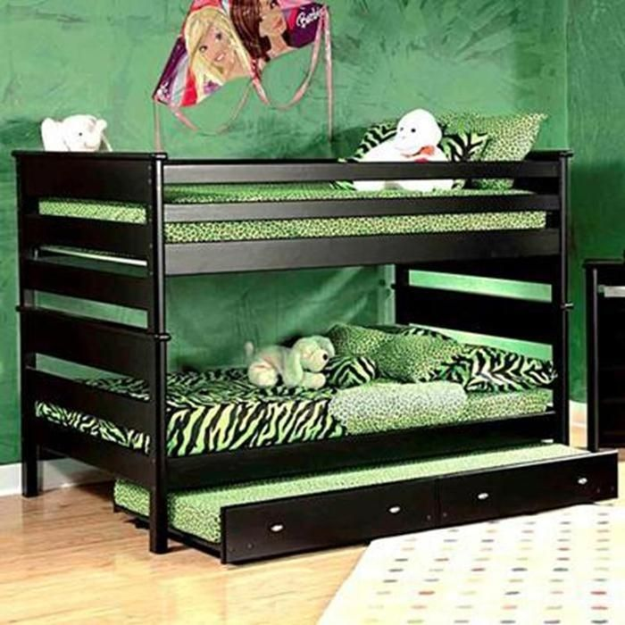 Full over Full Bunk Bed withTrundle in Black Cherry Nebraska