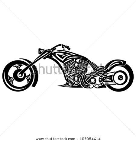 Tribal Motorcycle Stock Vector 107954414 Shutterstock Tribal Tattoos Bike Tattoos Motorcycle Tattoos