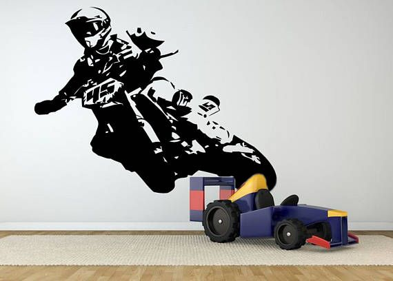 Motocross Wall Decal Dirt Bike Wall Sticker Motorsport Enduro Bike