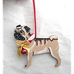 hand painted pug fawn wbow wood christmas ornament artist original bow wood