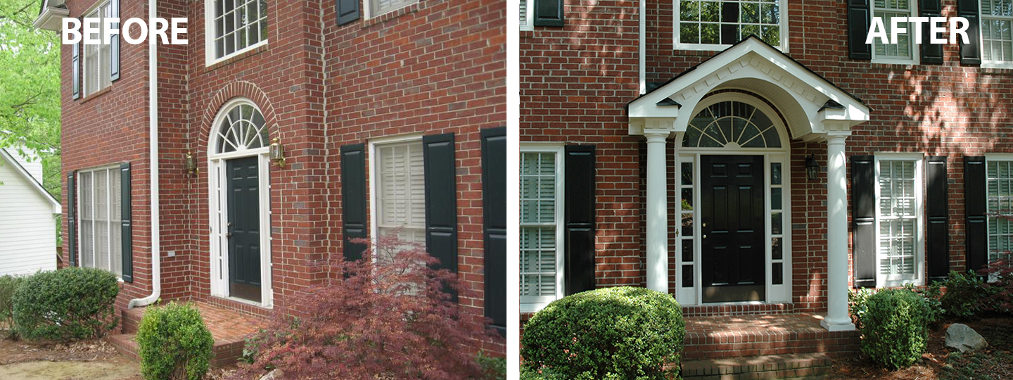 Flat Faced Traditional Brick Home Has Instant Curb Appeal With A New Gabled Portico Designed And Built By Georgi Porch Builders Traditional Brick Home Portico