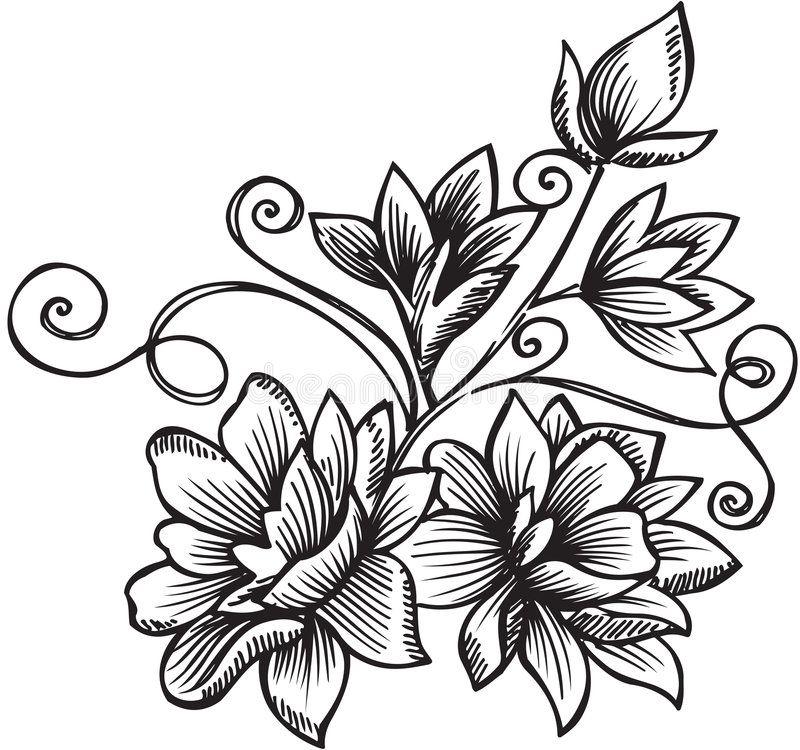 Ornamental Flower Bouquet Vector Illustration royalty free