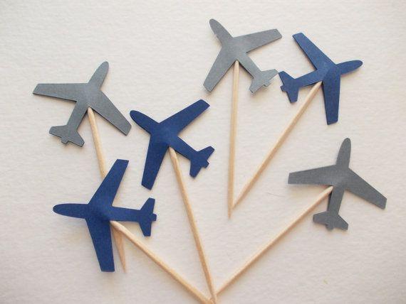 24 airplane party picks navy blue gray von - Flugzeug basteln mit kindern ...