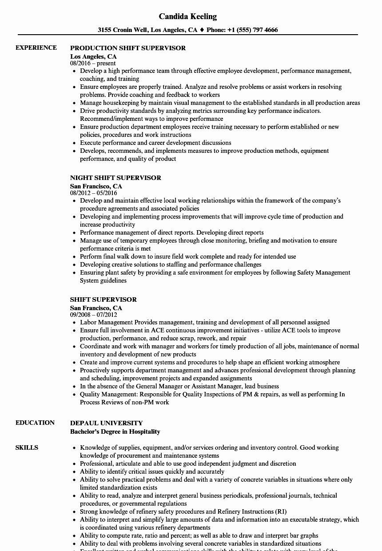 Shift Manager Job Description Resume Lovely Shift Supervisor Resume Samples Good Resume Examples Manager Resume Nursing Resume