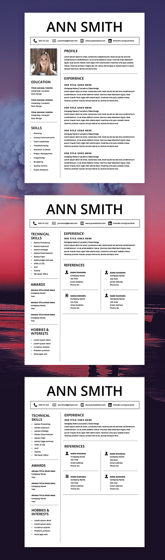 curriculum vitae template- cv template - cover letter