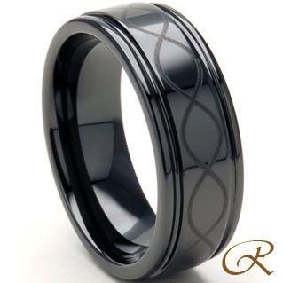Black Ceramic Carbide Ring Mens Infinity Wedding Band