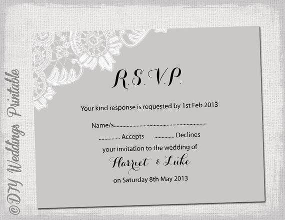 Free Printable Rsvp Cards Wedding Rsvp Template Diy Silver By In 2020 Rsvp Wedding Cards Wedding Rsvp Postcard Wedding Rsvp