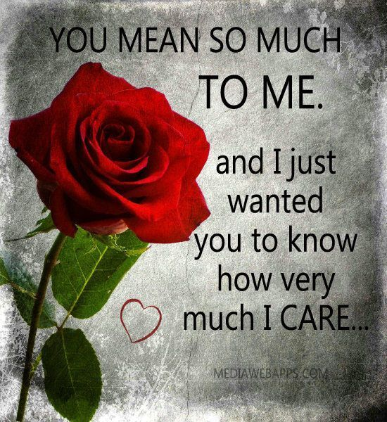 You Mean So Much To Me I Just Want You To Know How Much I Care