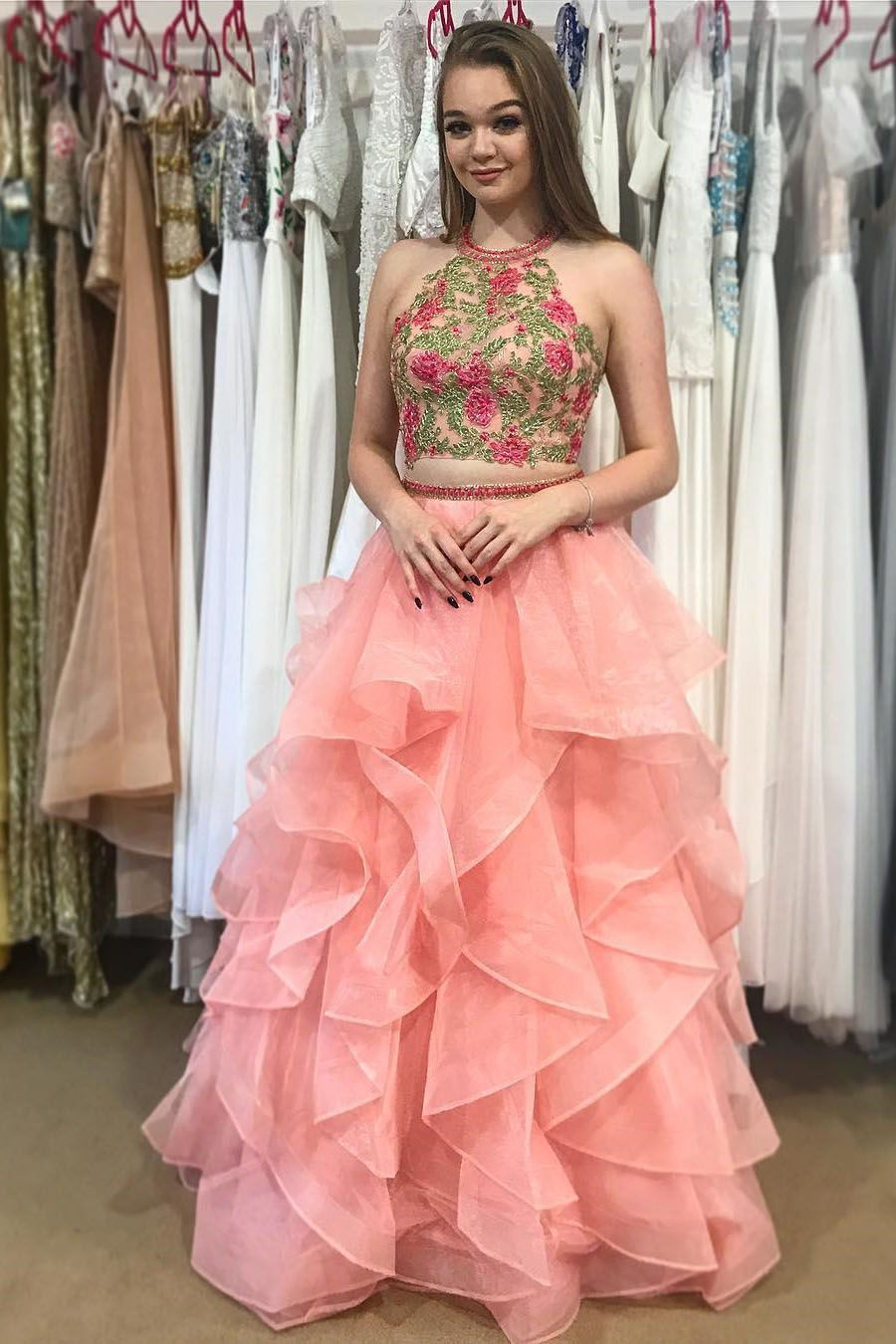 Unique Two Piece Long Prom Dress,Embroideried Prom Dress,Organza ...