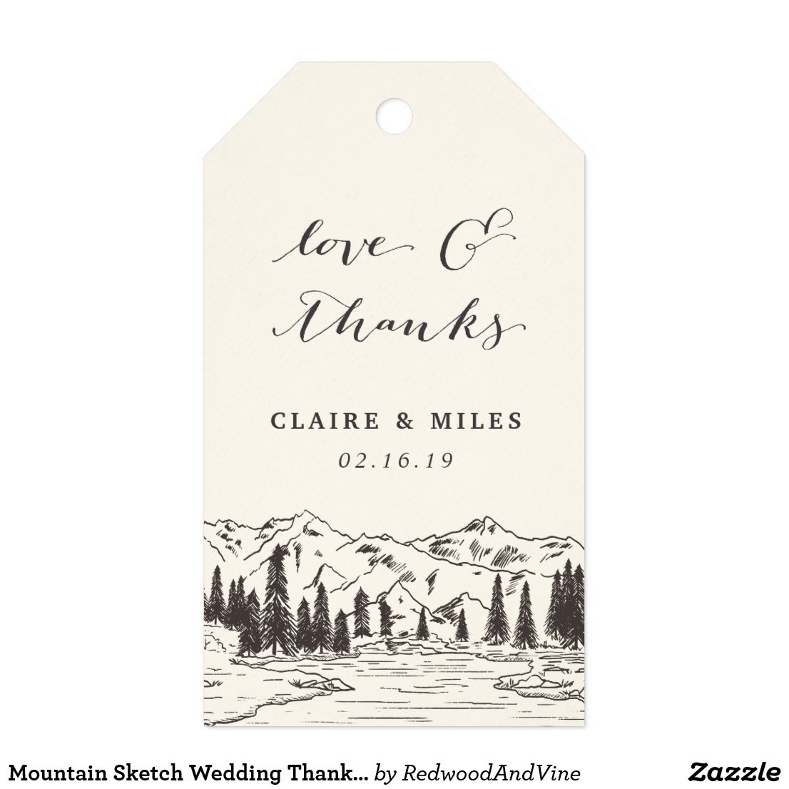 Mountain Sketch Wedding Thank You Gift Tags | Mountain sketch ...