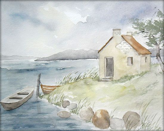 Altes fischerh uschen aquarell 24 x 32 cm original - Aquarell vorlagen ...