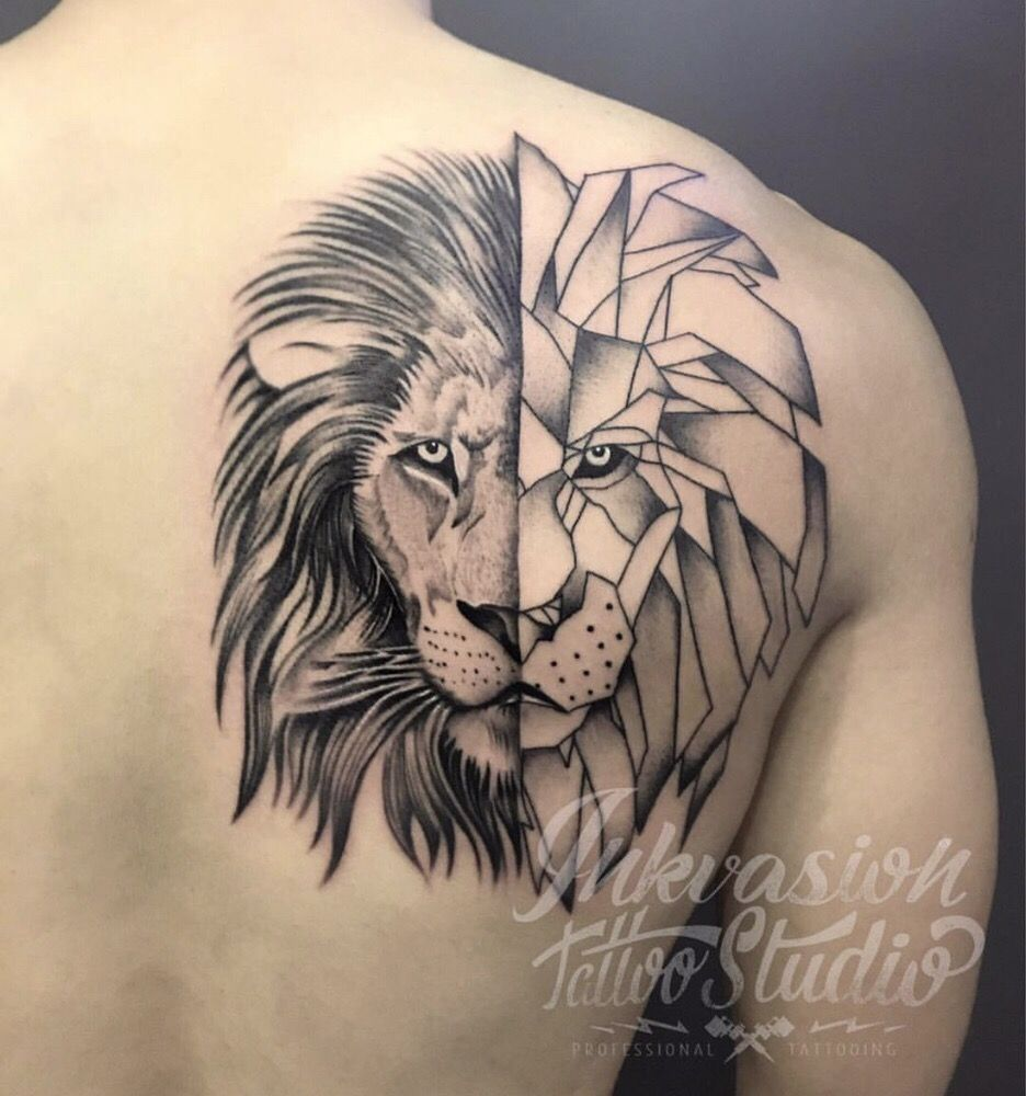 Inspired Half Lion Tattoo Lion Tattoo Ideas On The Sleeve