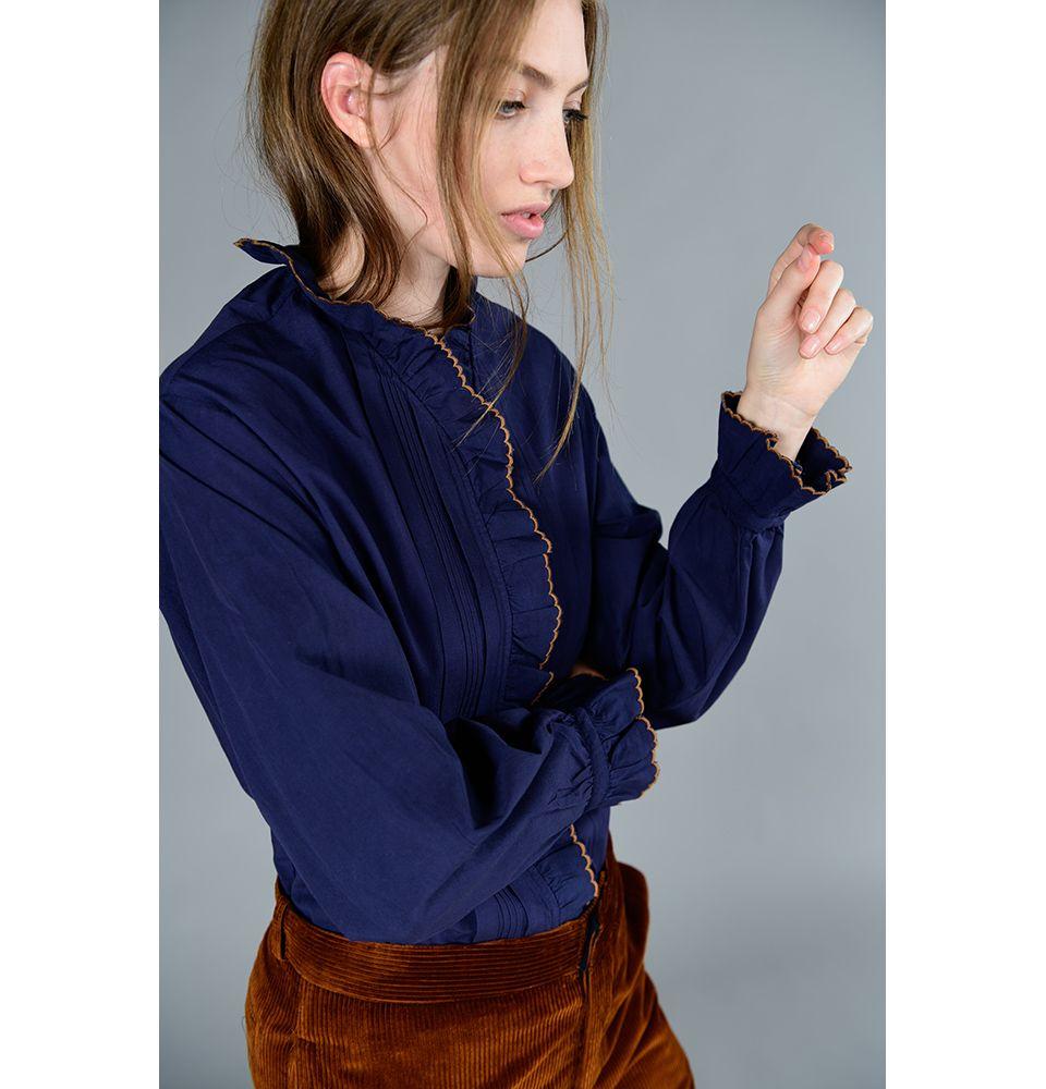 blouse en popeline de la marque soeur mod u00e8le cannelle en coton bleu