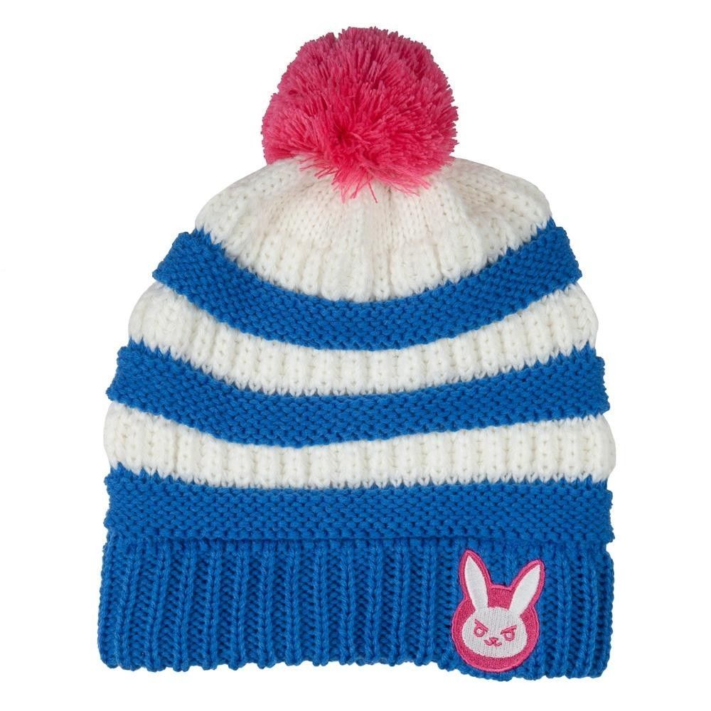 Overwatch D.VA Knit Beanie Hat with Pink Pom CUTE Bunny Logo on Cuff  Blizzard  Bioworld  Beanie  WinterOutdoors 0a211ef32d6a