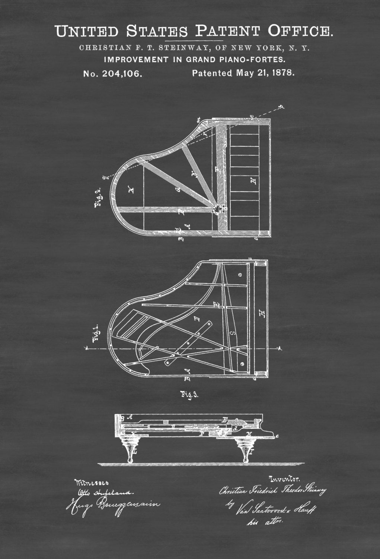 Piano Patent Print Chalkboard