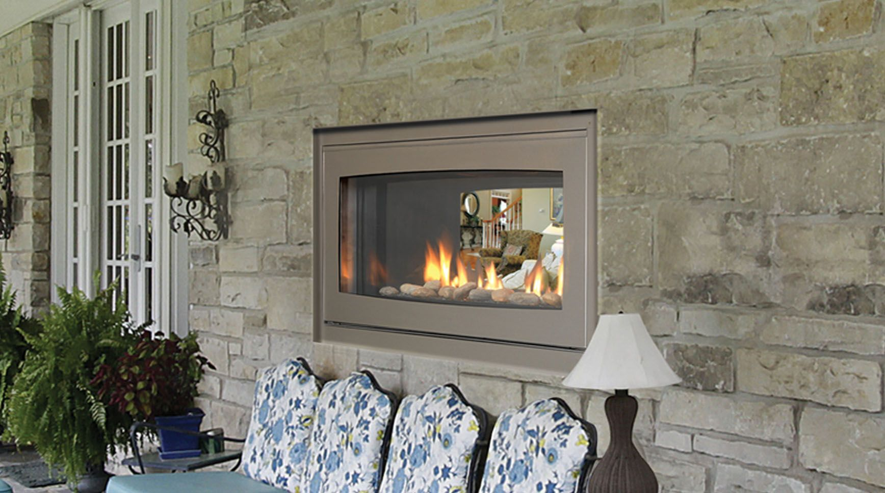 Indoor Outdoor Gas Fireplace See Through - Interior House Paint ...