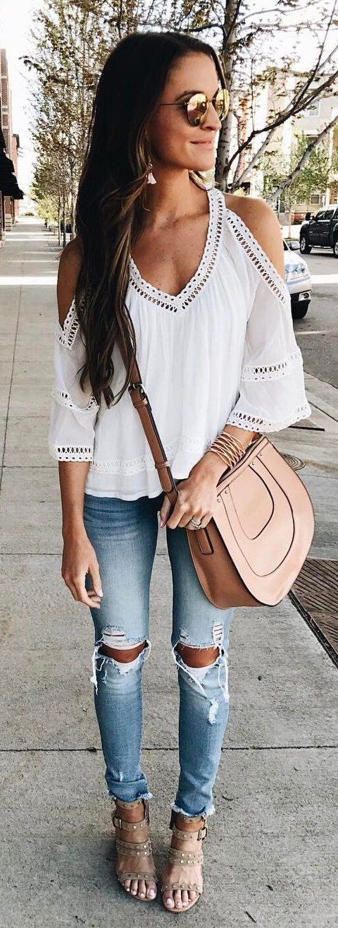 57a87c8cec31 #summer #outfits White Cold Shoulder Blouse + Destroyed Skinny Jeans +  Blush Leather Shoulder Bag